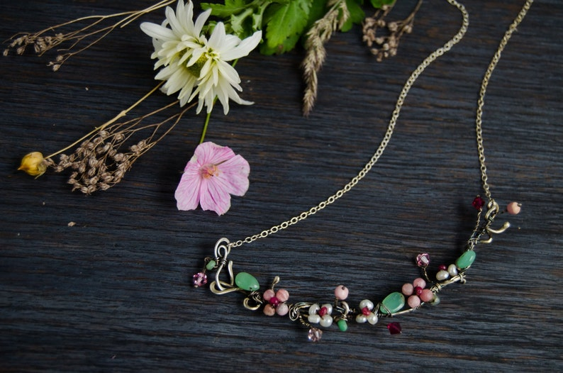 Silver Floral necklace Pink flower Romantic botanical jewelry pearl flower jewelry one of a kind choker unique gift for her