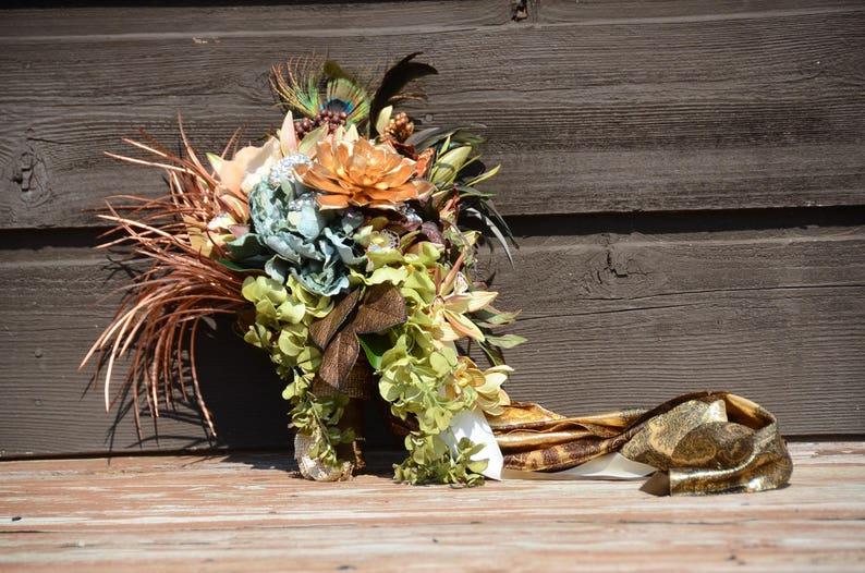 Cascading Bouquet Peacock Succulent BRIDAL BOUQUET Copper and Black Tribal Bouquet Artificial Flowers Boho Bouquet Silk Flowers