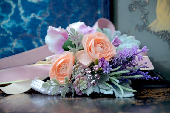 Corsage Mother Peach Ranunculus and Succulent Corsage Peach WRIST CORSAGE Peach Bridal flowers Silk flower Corsage Purple and Peach
