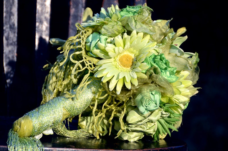 Alternative Wedding Bouquets. Heirloom Bouquet SOLD Green Bridal Bouquet Handmade Fabric Flowers and Artificial Flowers Lime Bouquet