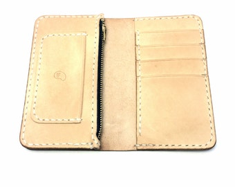 Leather Mid Wallet with Zipper Pouch