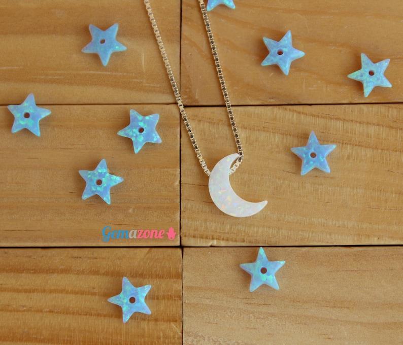Moon opal pendant  La Luna White Opal Charm  Loose Crescent Moon  Opal Beads  Jewelry Making  Gemstone Beads  Goodnight Pendant 1 pcs