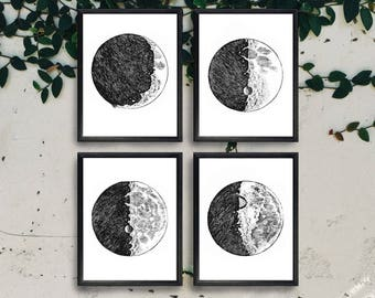 Set of 4 Moon Phase Prints - Digital Download Instant Art Print - Vintage Art Print - Moon Print - Vintage Illustration - Astronomy Print