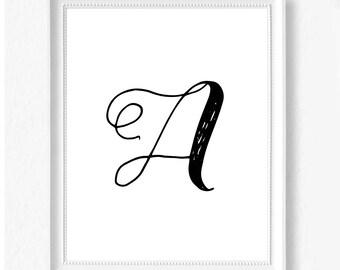 A hand letter name initial digital download instant art print custom print minimalist chic minimal modern decor typography monogram print