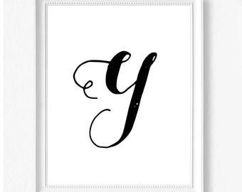Y hand letter name initial digital download instant art print custom print minimalist chic minimal modern decor typography monogram print