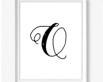 Q hand letter name initial digital download instant art print custom print minimalist chic minimal modern decor typography monogram print
