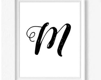 M hand letter name initial digital download instant art print custom print minimalist chic minimal modern decor typography monogram print