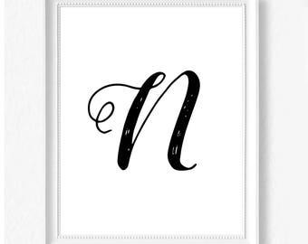 N hand letter name initial digital download instant art print custom print minimalist chic minimal modern decor typography monogram print
