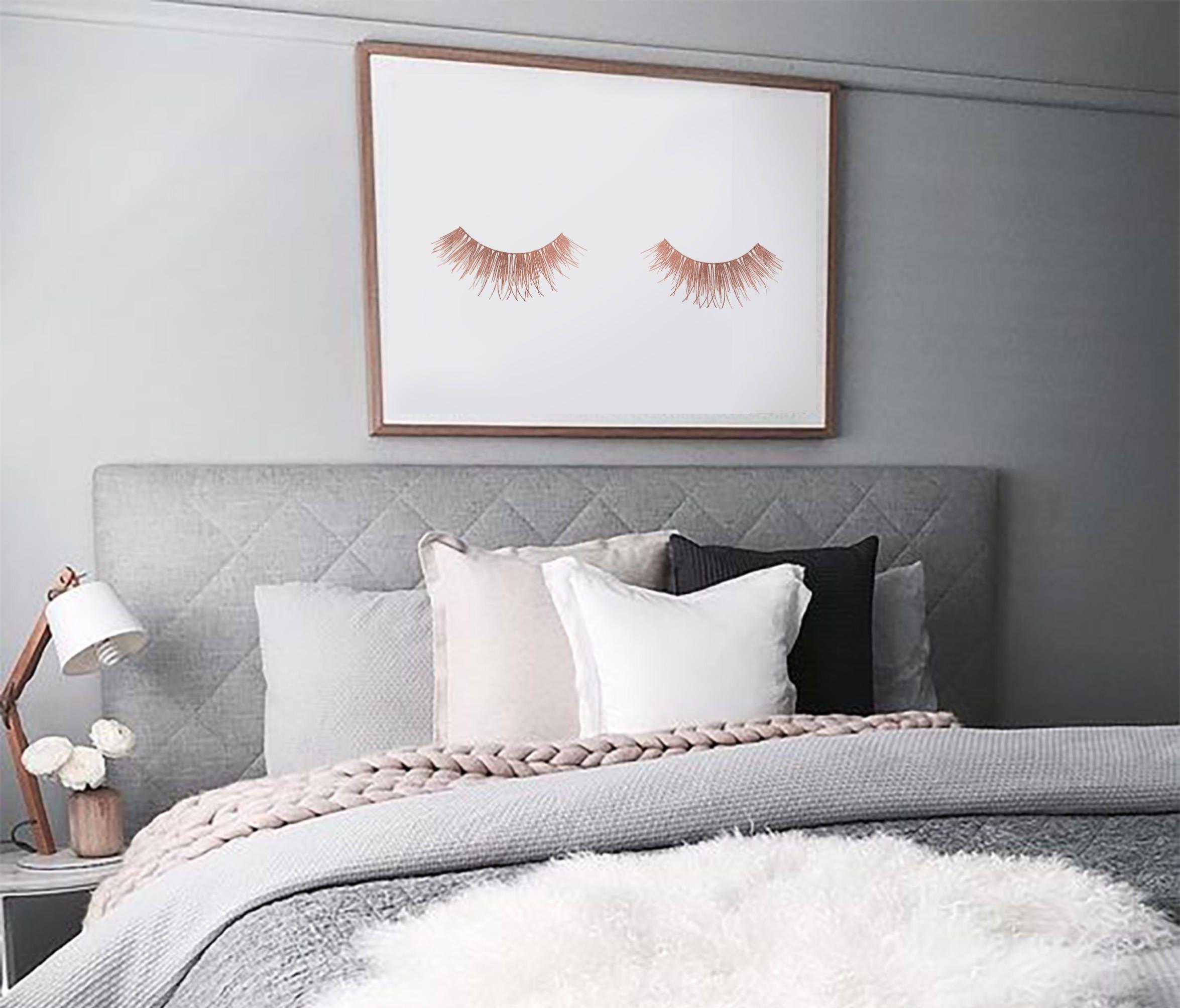 Rose gold eyelashes art print downloadable wall art