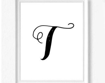 T hand letter name initial digital download instant art print custom print minimalist chic minimal modern decor typography monogram print