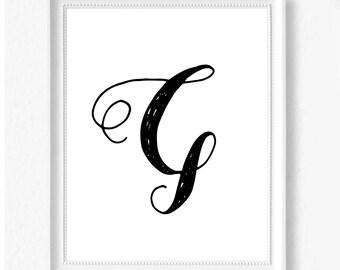 G hand letter name initial digital download instant art print custom print minimalist chic minimal modern decor typography monogram print