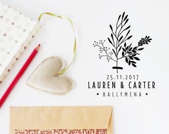 Wedding Rubber Stamp, Save the Date Stamp, Plant Stamp, Custom Love Stamp, Invitation Stamp, Wedding Favor Stamp - CW725