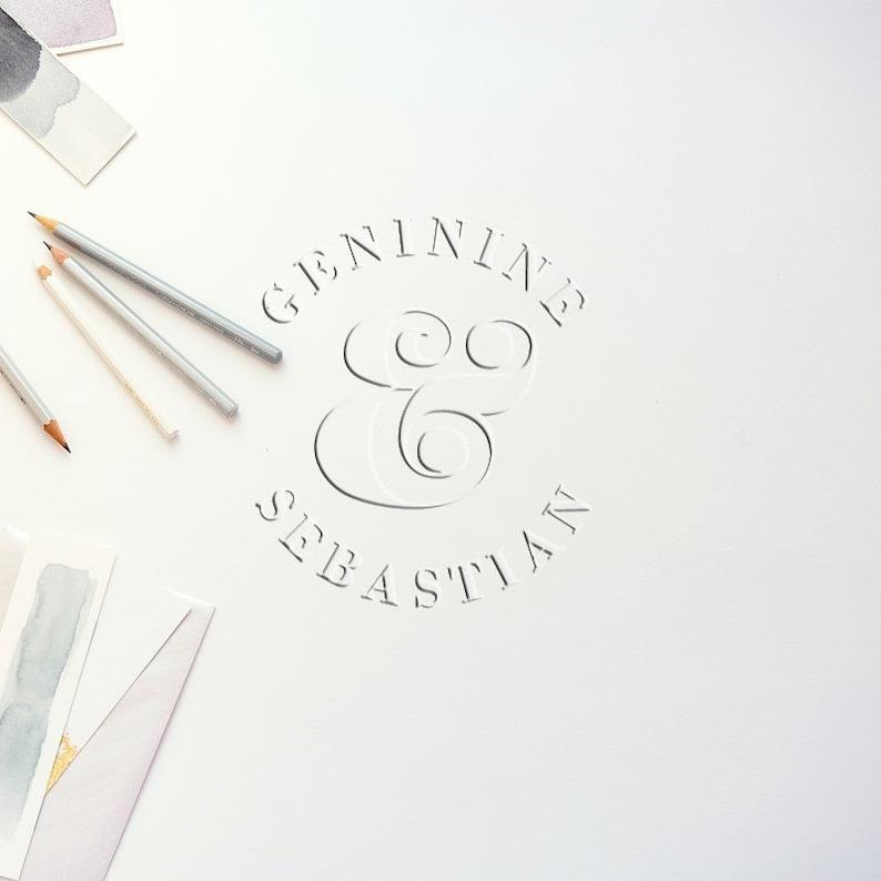 Name Embosser Wedding Embossing Stamp Monogram Stamp Self Inking CE754 Custom Embosser Stamp