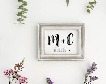 Wedding Monogram Stamp, Save the Date Stamp, Custom Initial Stamp, Wedding Stamp, Invitation Stamp - CW702