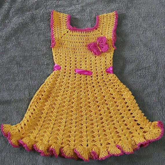 Crochet Baby Dress For One To Two Year Old Kidscrochet Kids Etsy
