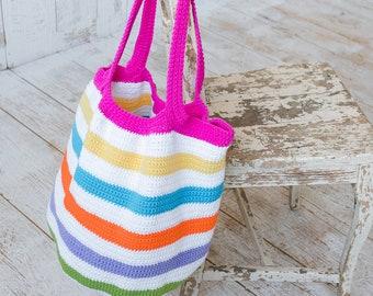 CROCHET PATTERN SUMMER Purse Cotton Tote Beach Ball Bag Handbag Beach Tote