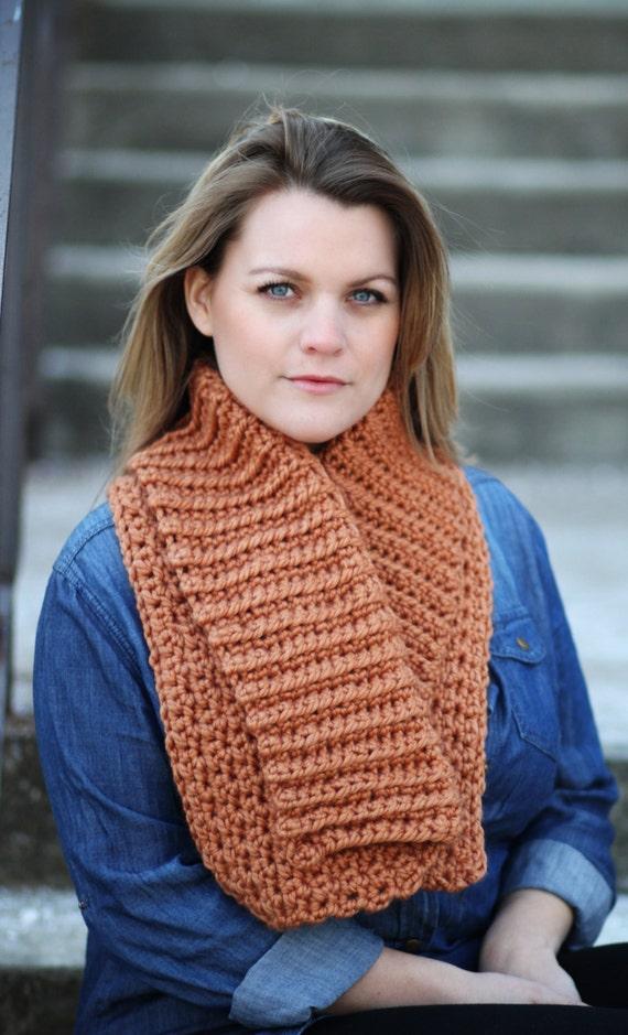Scarf Crochet Pattern Collar Cowl Chunky Bulky Wrap The Aspen Etsy