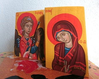 Contemporary Byzantine icon of the Hand of God Souls of the Righteous religious Painting imaging of the Last Judgement and  Book of Wisdom