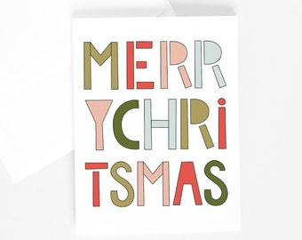 MERRY CHRISTMAS Greeting Card, Illustrated Greeting Card, Illustration, Christmas Card, Holiday Card, Non-Traditional Christmas Colors