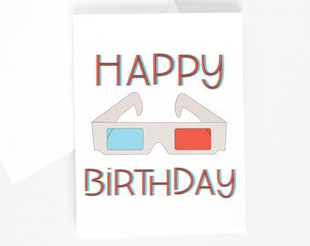 3D HAPPY BIRTHDAY Card, Illustrated Greeting Card, Illustration, 3D Glasses, Anaglyph, Retro Card, 80's Baby, Nostalgic Birthday Card
