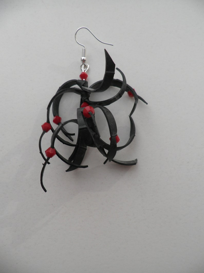 recycled and original art Earrings are handmade. Red facet beads.Rubber earrings Rubber jewelry Black earrings
