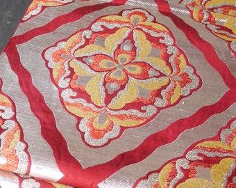 Vintage Japanese Silk Fukuro Obi sash Red with Flowers