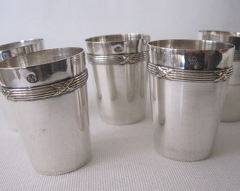 Set of 5 little silverplated glasses ( '40)