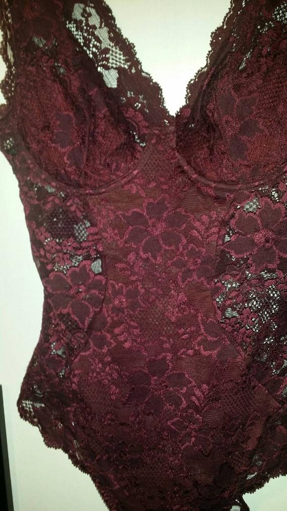 La Perla genuine  burgundy laces body Bodysuite  L