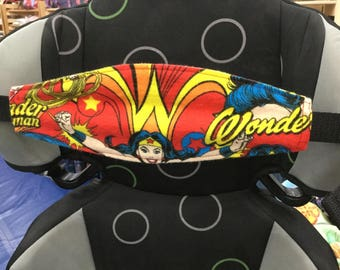 Child Car Seat NAP STRAP In Flannel With Adjustable Strap Wonder Woman