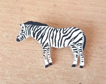 Zebra Brooch, Handpainted, Safari animal, Jewellery, Badge, pin, jungle, black, white, stripe
