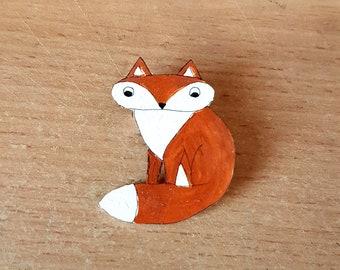 Fox Brooch, Hand Painted, Handmade, Cute animal, Badge, pin, Jewellery, Jewelry, woodland animal, brown, cream