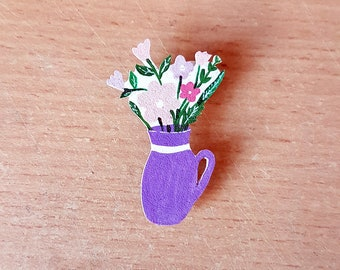 Flower Brooch, Handmade, Handpainted, Badge, Pin, Jewellery, Jewelry, mothers day, garden, floral, woman jewellery, gift for her, purple