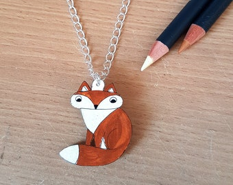 Fox Necklace, Handmade, Jewellery, Wearable Art, Shrink Plastic, jewelry, for her, animal lovers, woman, woodland