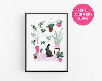 Custom Pet Portrait | Gouache Portrait | Cat Gift | Personalised | Pet lover gift | Illustration