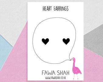 Tiny Black Earrings | Hand Painted | Jewellery | Jewelry | Minimalist | Heart Studs