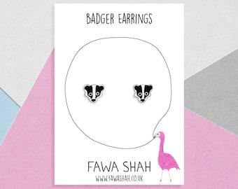 Small Badger Earrings | Hand Painted | Jewellery | Jewelry | Wildlife | Hypoallergenic Steel