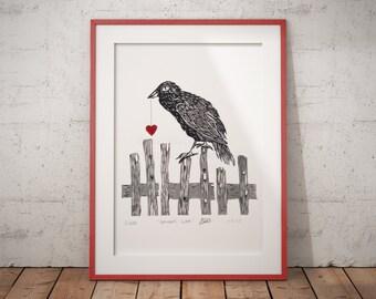 Raven Linocut, Original Lino Print, Wall Art, 10 x 12, Art, Black, White, Red, Crow Art, Bird Lovers, Nursery, Gothic home decor, children