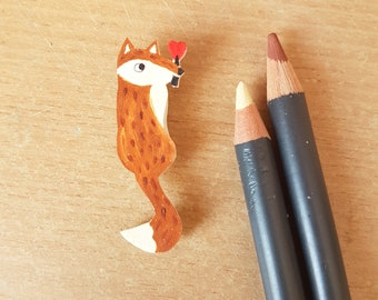 Love Fox Brooch, Handmade, Jewellery, Animal Brooch, Jewelry, Plastic, Badge, Pin, Fox Illustration, Love, Fox, Valentines Day, brooch