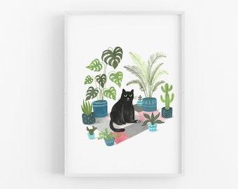 Black Cat Print | Black cat illustration | Plant Cat | Black Cat Gift | Wall Art | Cat lovers