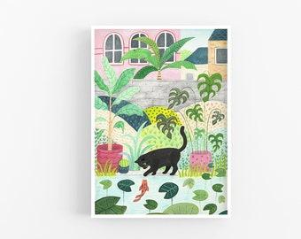 Cat Print | Black Cat Art | Cat Gift | Garden | Wall Art | Cat lovers | Cat Illustration