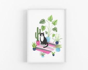 Black and White Cat Print | Tuxedo Cat | Cat illustration | Plant Cat | Plant Art | Wall Art | Plant Lovers