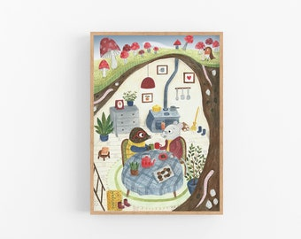 Mole Art print | The Wind In the Willows | Mouse Art Print | Ratty and Mole | Tea Party | Nursery Decor | Wall Art