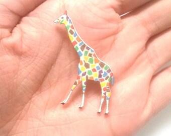 Rainbow Giraffe Brooch, Handmade, Animal Badge, pin, Wearable Art, Jewellery, Jewelry, giraffe gift