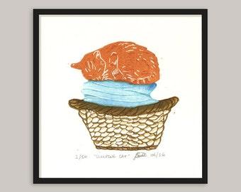 Sleeping Cat, Linocut, Hand Printed, Linoprint, Wall Art, 8 x 8, Limited Edition, Art, Brown, Orange, Blue, Uk