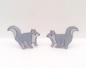 Squirrel Earrings, Studs, Handpainted, Jewellery, Jewelry, girl, woodland, forest, mountain, grey, white, black