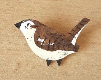 Wren Bird Brooch, Hand Painted, Handmade, Animal Illustration, Badge, pin, Jewellery, Jewelry, bird lovers, british bird, garden