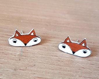 Fox Earrings, Handpainted, Cute animal, Studs, Jewellery, Jewelry, woodland, brown, Animal, foxy lady