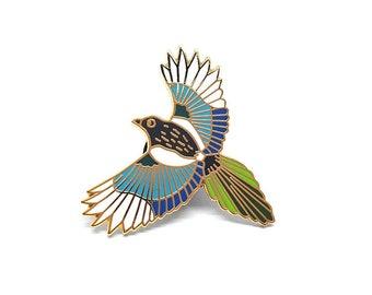 Magpie Bird Pin | Badge | Brooch | Hard Enamel | Jewellery | Jewelry