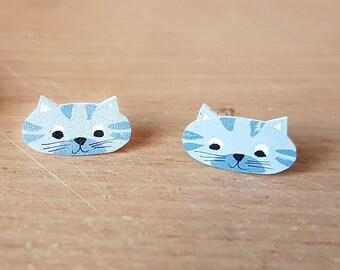 Grey Cat earrings, Handmade, Jewellery, Studs, Feline, Cute animal, Jewelry, crazy cat lady