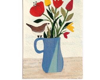 SALE - Original ACEO, Wren Bird, Flower Pot, one of a kind, mixed media, collage, miniature art, Bird illustration, Multi-colour, uk